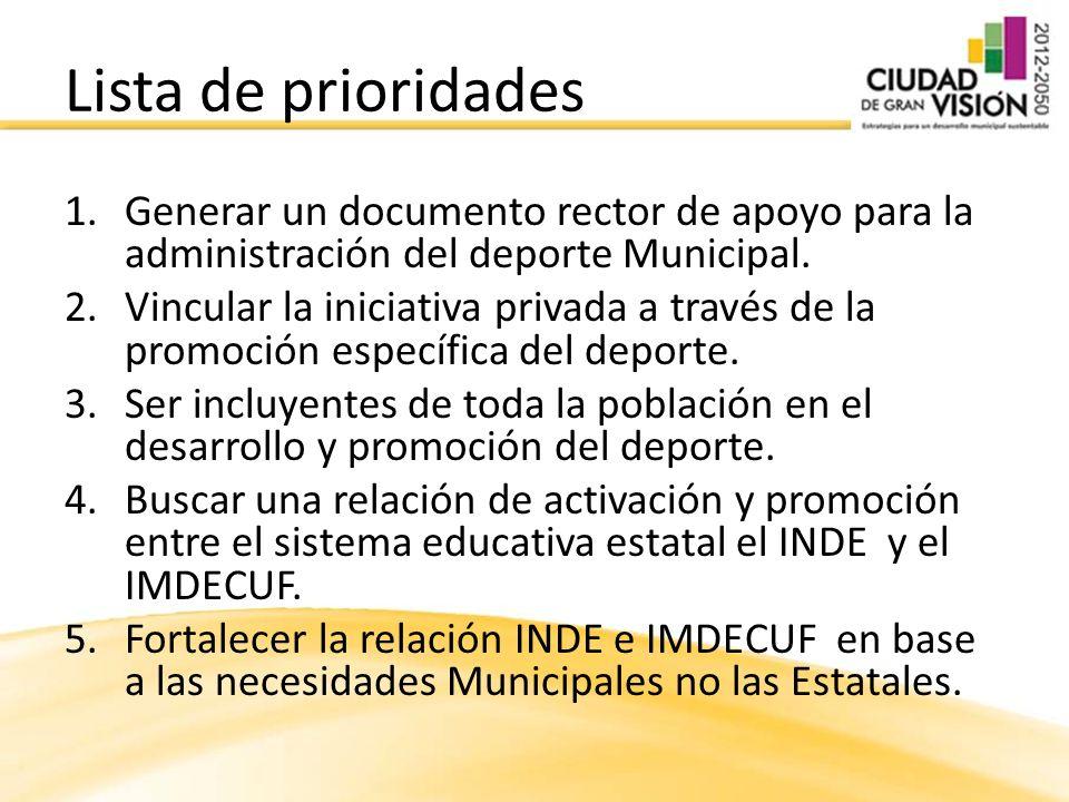 1.Generar un documento rector de apoyo para la administración del deporte Municipal. 2.Vincular la iniciativa privada a través de la promoción específ