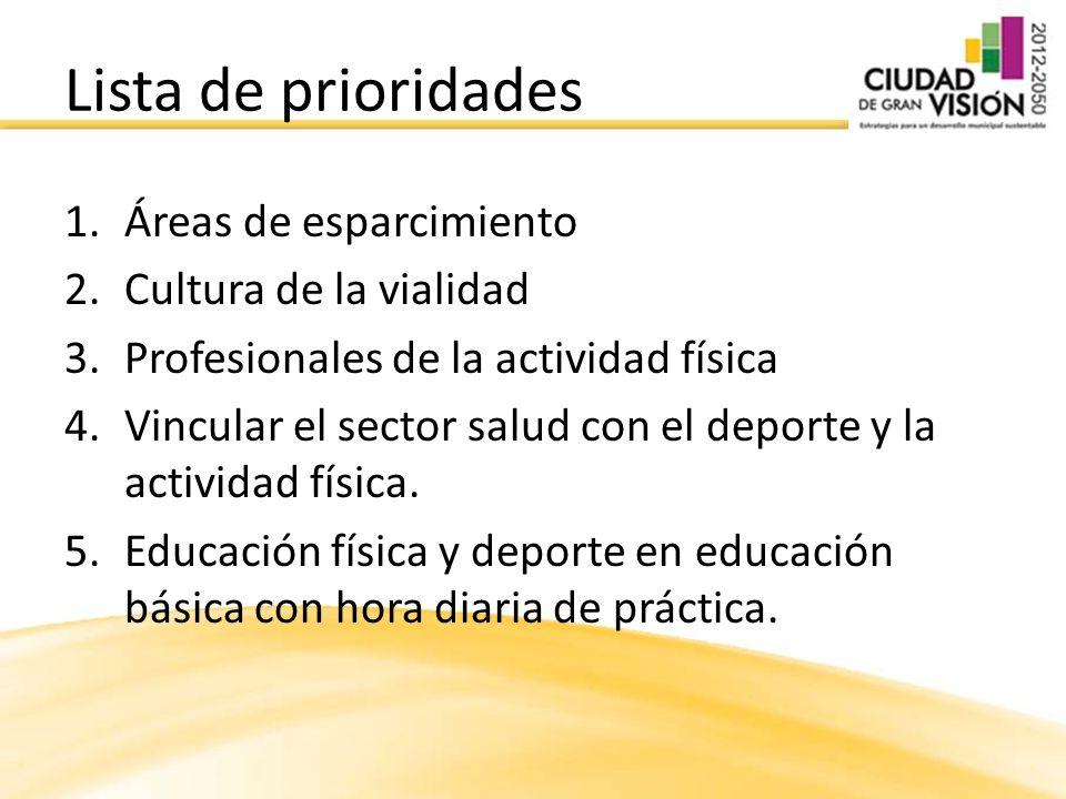 1.Áreas de esparcimiento 2.Cultura de la vialidad 3.Profesionales de la actividad física 4.Vincular el sector salud con el deporte y la actividad física.