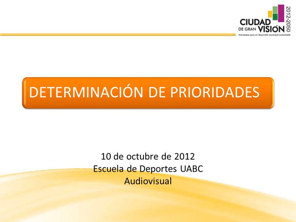 DETERMINACIÓN DE PRIORIDADES 10 de octubre de 2012 Escuela de Deportes UABC Audiovisual