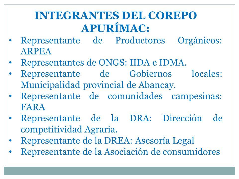 INTEGRANTES DEL COREPO APURÍMAC: Representante de Productores Orgánicos: ARPEA Representantes de ONGS: IIDA e IDMA.