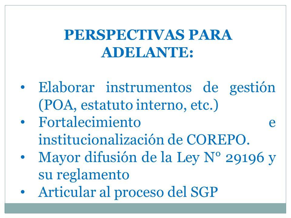 PERSPECTIVAS PARA ADELANTE: Elaborar instrumentos de gestión (POA, estatuto interno, etc.) Fortalecimiento e institucionalización de COREPO.