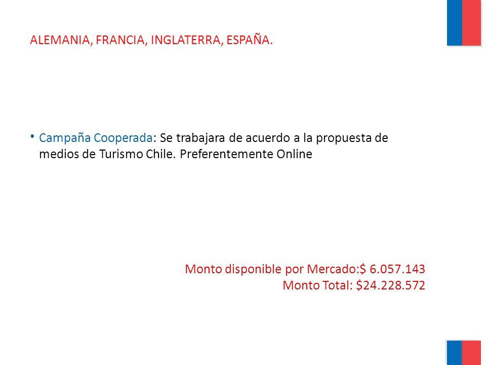 ALEMANIA, FRANCIA, INGLATERRA, ESPAÑA. Campaña Cooperada: Se trabajara de acuerdo a la propuesta de medios de Turismo Chile. Preferentemente Online Mo