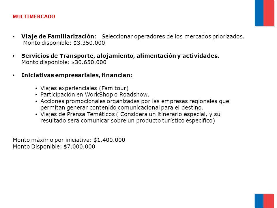 MULTIMERCADO Viaje de Familiarización: Seleccionar operadores de los mercados priorizados. Monto disponible: $3.350.000 Servicios de Transporte, aloja