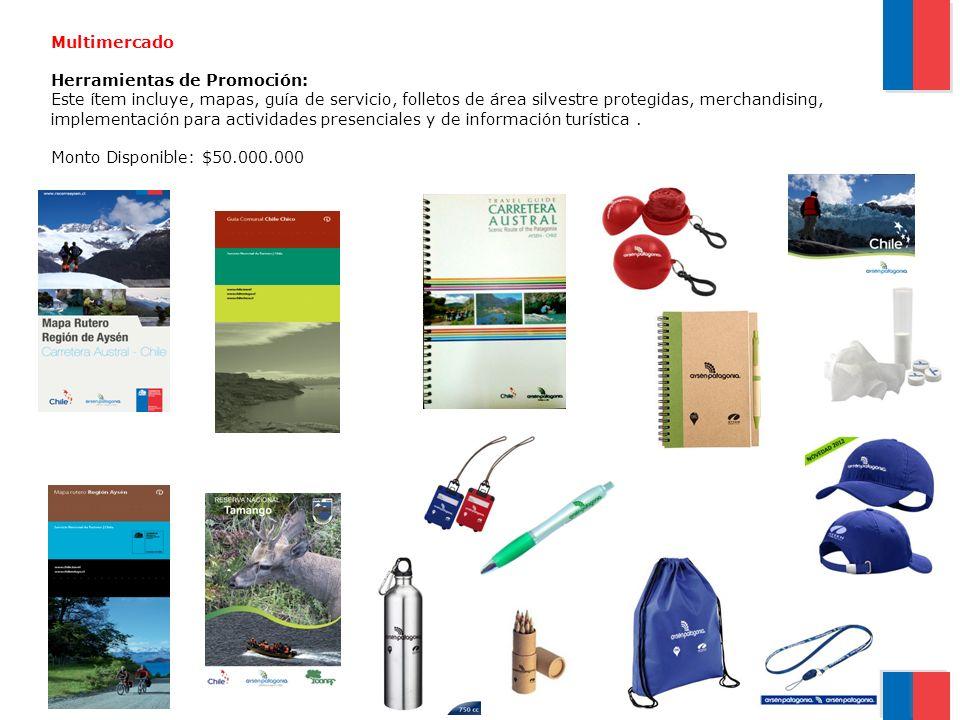 Multimercado Herramientas de Promoción: Este ítem incluye, mapas, guía de servicio, folletos de área silvestre protegidas, merchandising, implementaci
