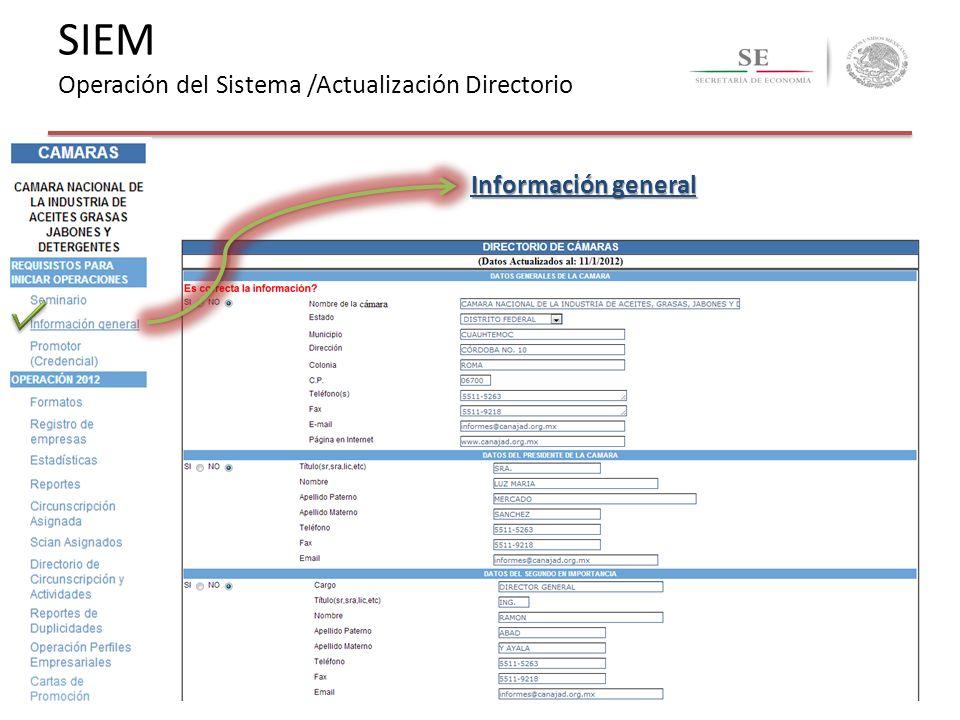 Información general SIEM Operación del Sistema /Actualización Directorio