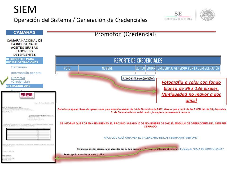 Promotor (Credencial) Fotografía a color con fondo blanco de 99 x 136 pixeles. (Antigüedad no mayor a dos años) SIEM Operación del Sistema / Generació