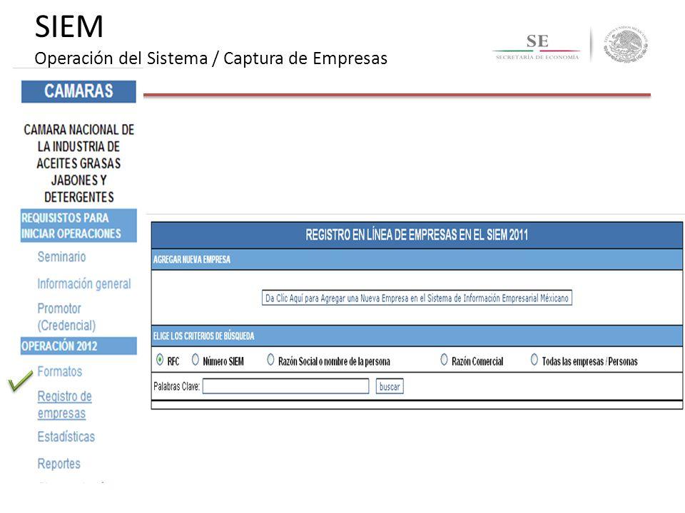 SIEM Operación del Sistema / Captura de Empresas