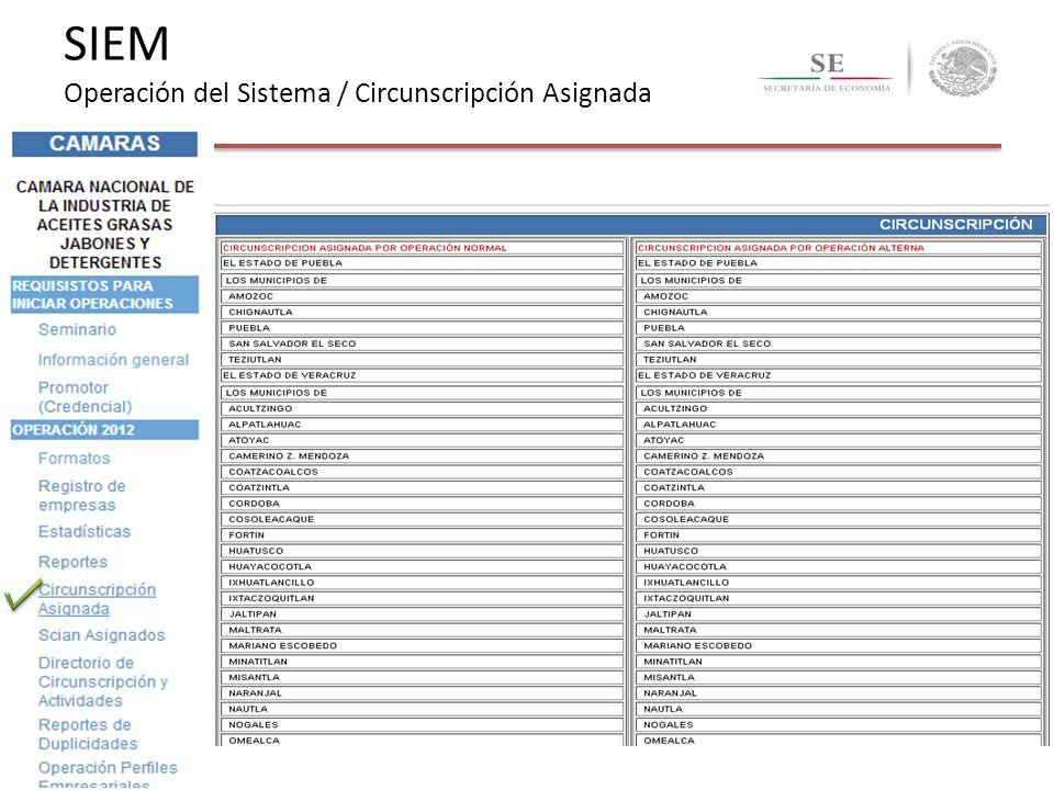 SIEM Operación del Sistema / Circunscripción Asignada