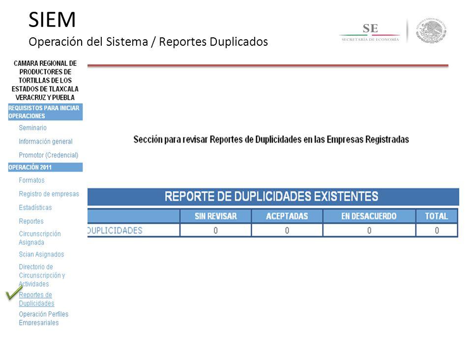 SIEM Operación del Sistema / Reportes Duplicados