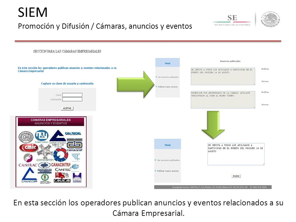 En esta sección los operadores publican anuncios y eventos relacionados a su Cámara Empresarial. SIEM Promoción y Difusión / Cámaras, anuncios y event
