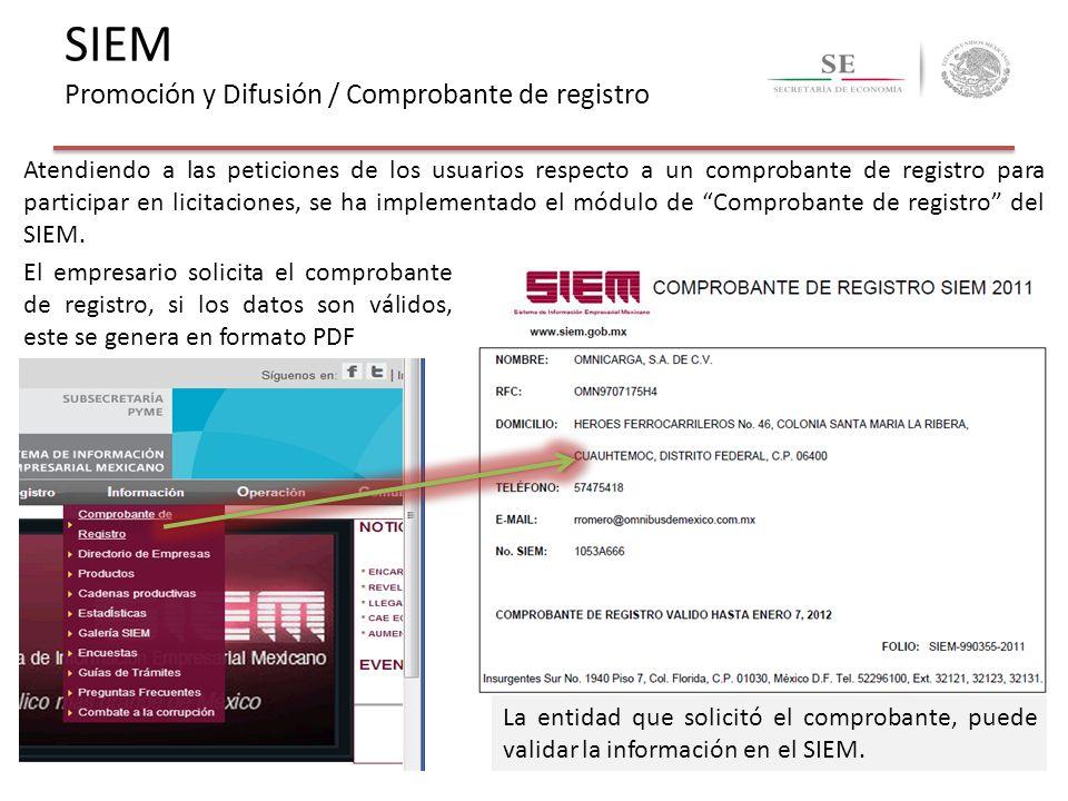 El empresario solicita el comprobante de registro, si los datos son válidos, este se genera en formato PDF La entidad que solicitó el comprobante, pue