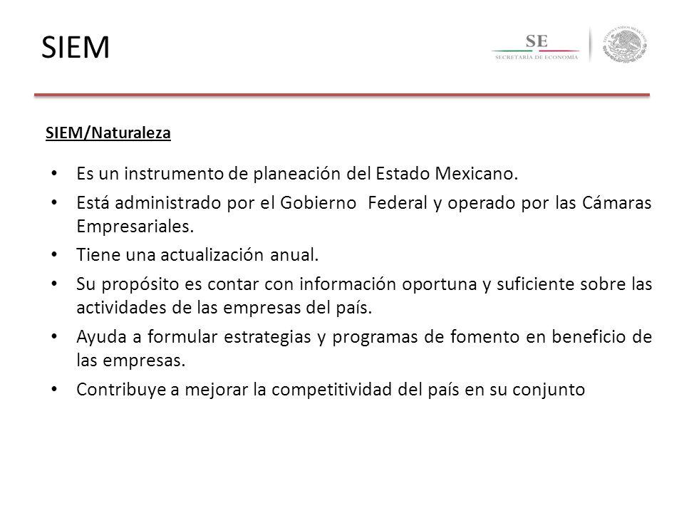 SIEM/Naturaleza Es un instrumento de planeación del Estado Mexicano. Está administrado por el Gobierno Federal y operado por las Cámaras Empresariales