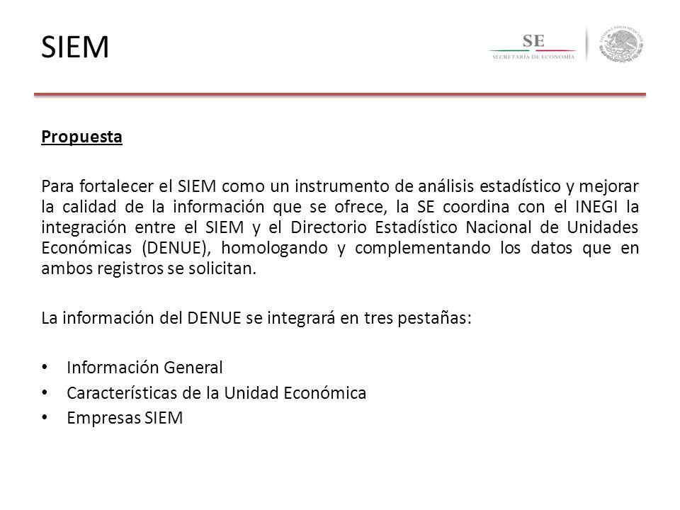 SIEM Propuesta Para fortalecer el SIEM como un instrumento de análisis estadístico y mejorar la calidad de la información que se ofrece, la SE coordin