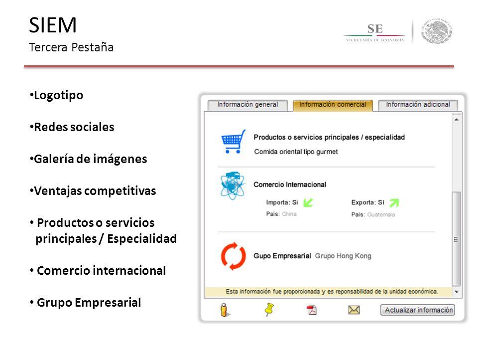 SIEM Tercera Pestaña Logotipo Redes sociales Galería de imágenes Ventajas competitivas Productos o servicios principales / Especialidad Comercio inter