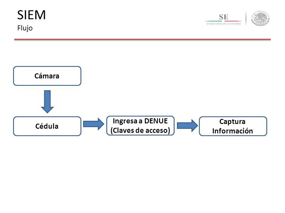 SIEM Flujo Cámara Cédula Ingresa a DENUE (Claves de acceso) Captura Información