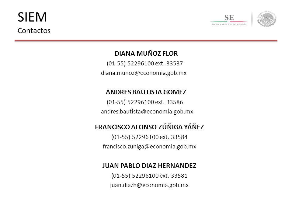 FRANCISCO ALONSO ZÚÑIGA YÁÑEZ (01-55) 52296100 ext. 33584 francisco.zuniga@economia.gob.mx JUAN PABLO DIAZ HERNANDEZ (01-55) 52296100 ext. 33581 juan.
