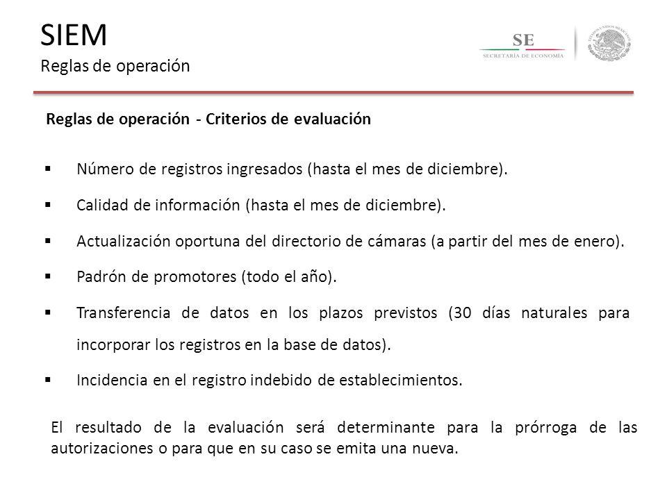 Reglas de operación - Criterios de evaluación Número de registros ingresados (hasta el mes de diciembre). Calidad de información (hasta el mes de dici