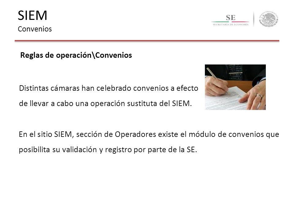 Reglas de operación\Convenios Distintas cámaras han celebrado convenios a efecto de llevar a cabo una operación sustituta del SIEM. En el sitio SIEM,