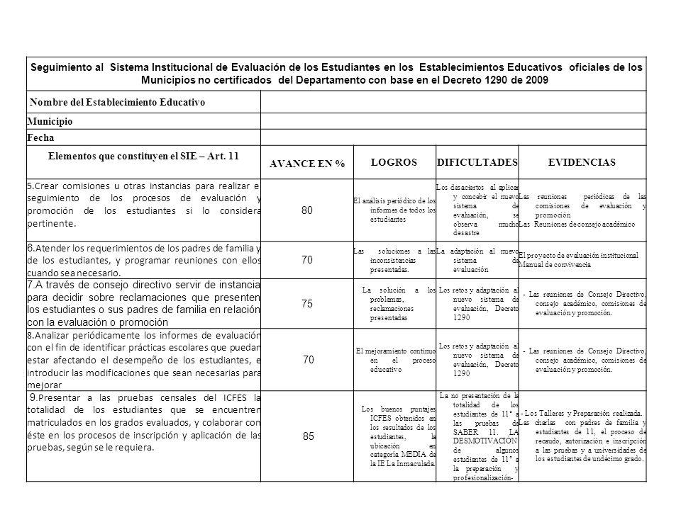 Seguimiento al Sistema Institucional de Evaluación de los Estudiantes en los Establecimientos Educativos oficiales de los Municipios no certificados d