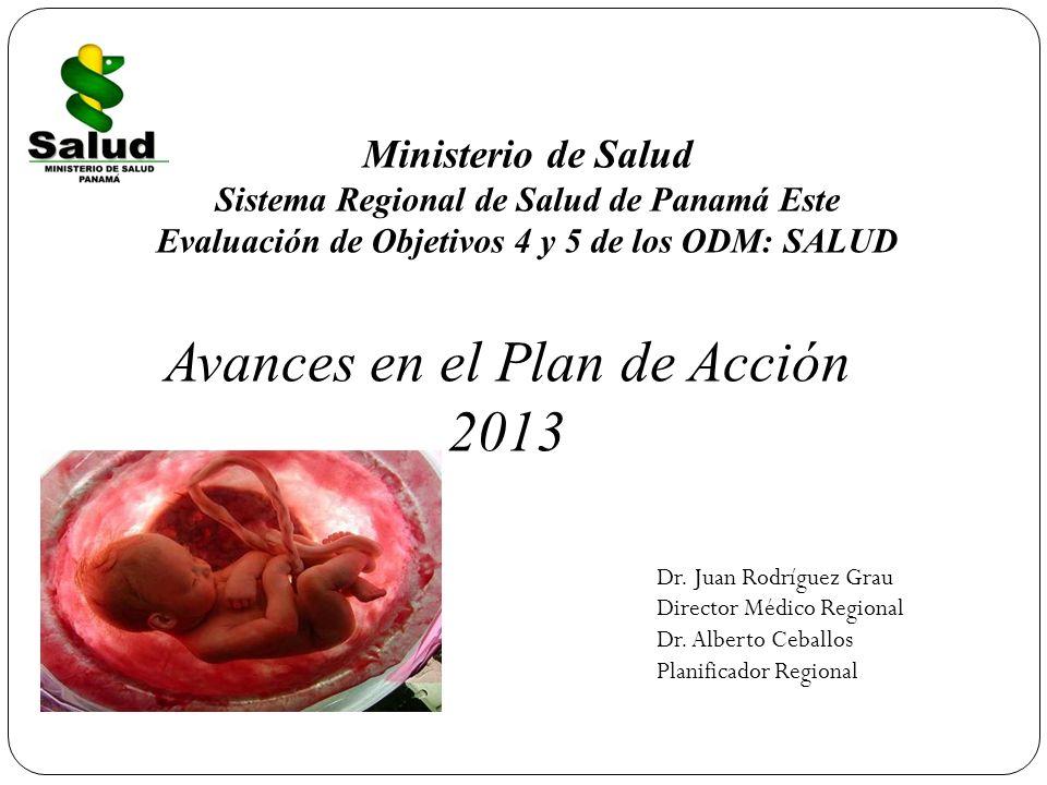 Ministerio de Salud Sistema Regional de Salud de Panamá Este Evaluación de Objetivos 4 y 5 de los ODM: SALUD Dr. Juan Rodríguez Grau Director Médico R