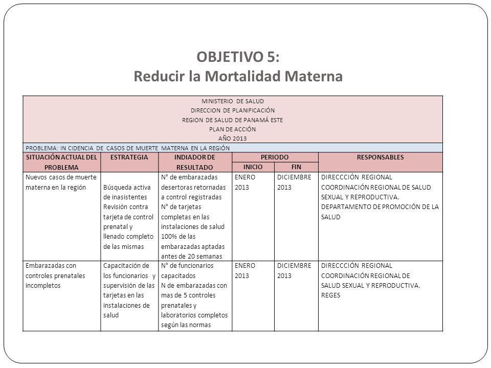 OBJETIVO 5: Reducir la Mortalidad Materna MINISTERIO DE SALUD DIRECCION DE PLANIFICACIÓN REGION DE SALUD DE PANAMÁ ESTE PLAN DE ACCIÓN AÑO 2013 PROBLE