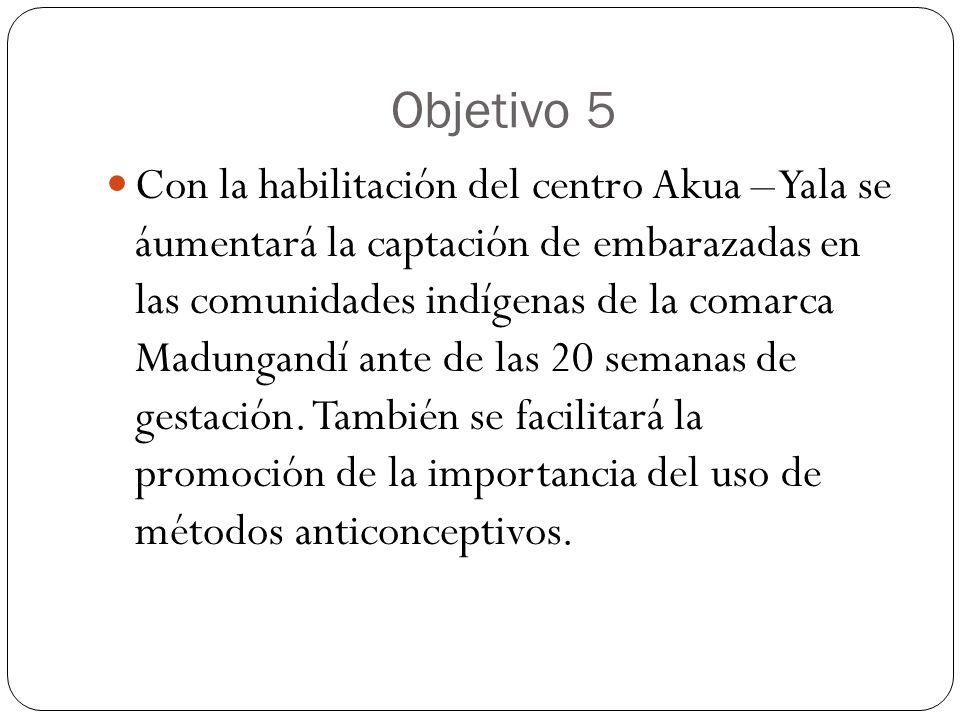 Objetivo 5 Con la habilitación del centro Akua – Yala se áumentará la captación de embarazadas en las comunidades indígenas de la comarca Madungandí a