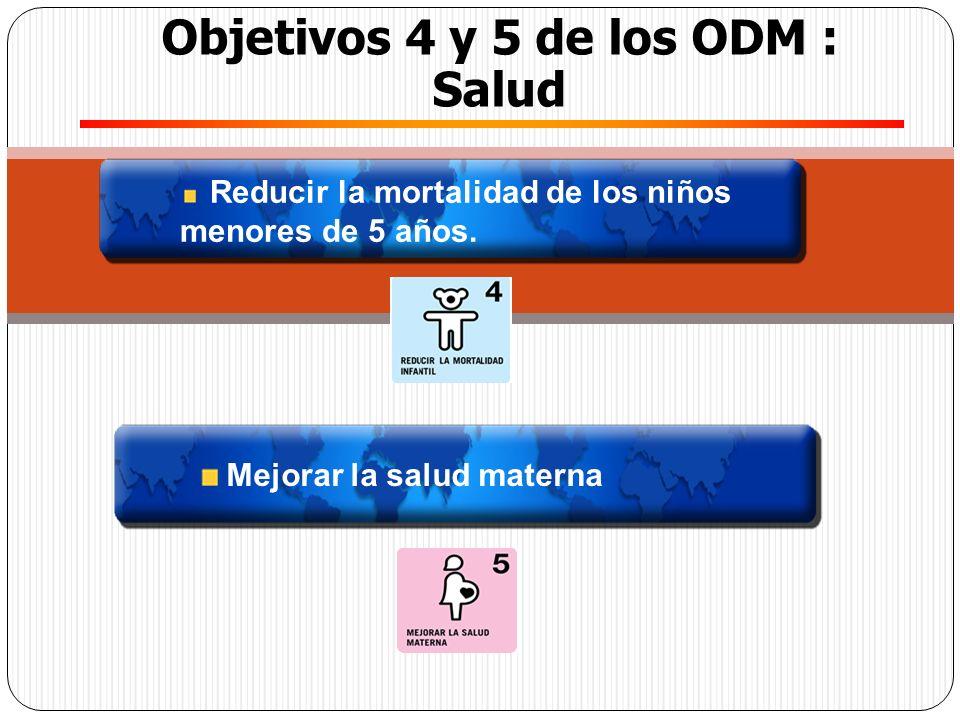 Reducir la mortalidad de los niños menores de 5 años. Objetivos 4 y 5 de los ODM : Salud Mejorar la salud materna