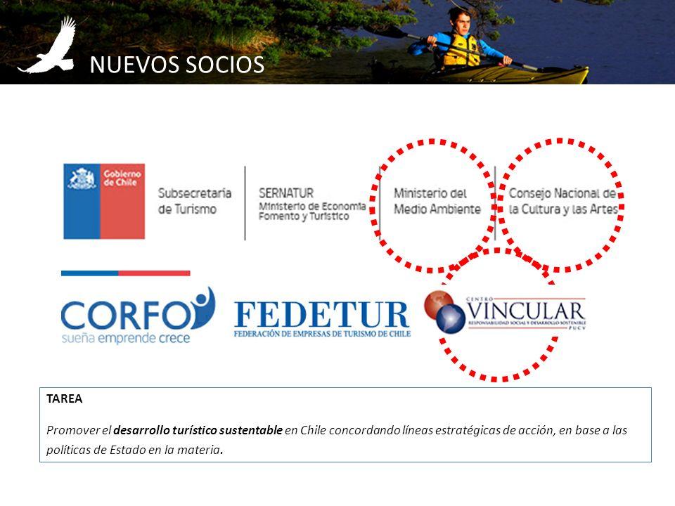 NUEVOS SOCIOS TAREA Promover el desarrollo turístico sustentable en Chile concordando líneas estratégicas de acción, en base a las políticas de Estado