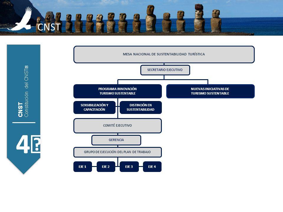 CNST MESA NACIONAL DE SUSTENTABILIDAD TURÍSTICA DISTINCIÓN EN SUSTENTABILIDAD EJE 2EJE 3EJE 4 SECRETARIO EJECUTIVO COMITÉ EJECUTIVO GERENCIA NUEVAS IN