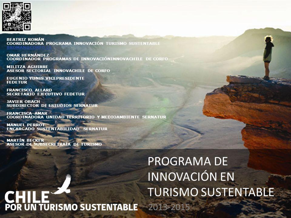 PROGRAMA DE INNOVACIÓN EN TURISMO SUSTENTABLE 2013-2015 BEATRIZ ROMÁN COORDINADORA PROGRAMA INNOVACIÓN TURISMO SUSTENTABLE BROMAN@CORFO.CL OMAR HERNÁN