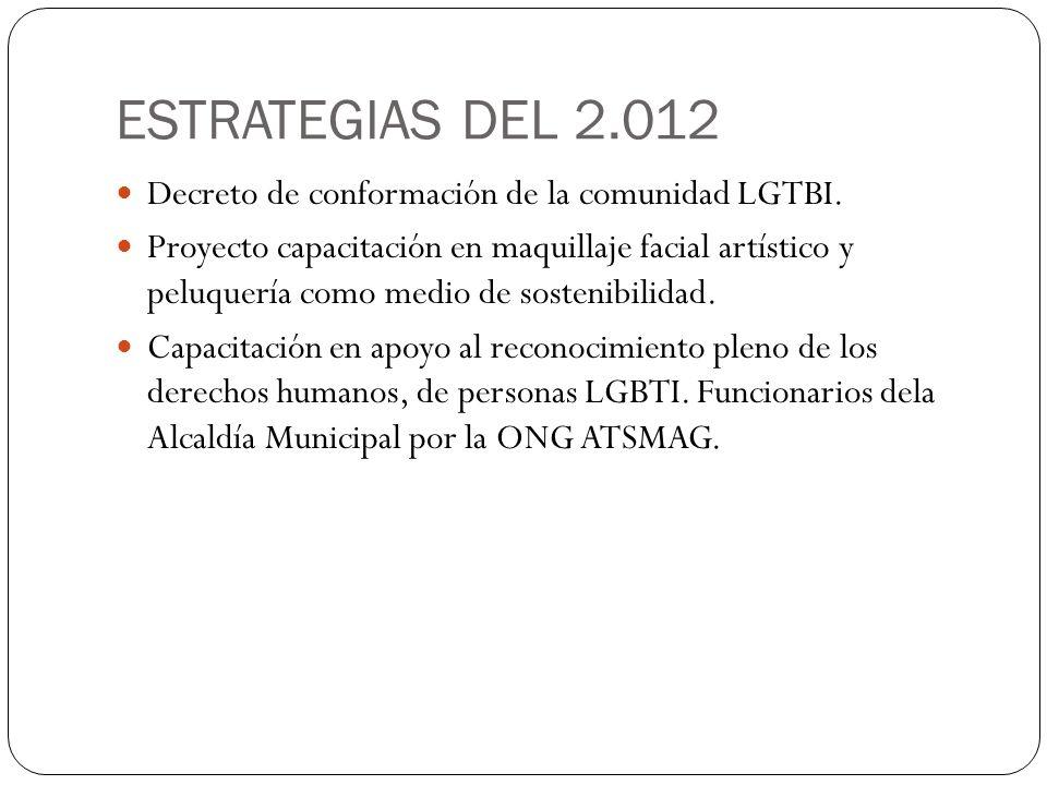 ESTRATEGIAS DEL 2.012 Decreto de conformación de la comunidad LGTBI. Proyecto capacitación en maquillaje facial artístico y peluquería como medio de s
