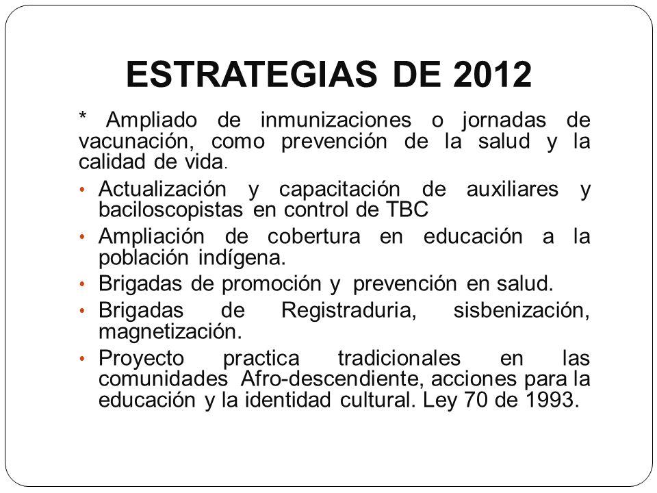 ESTRATEGIAS DE 2012 * Ampliado de inmunizaciones o jornadas de vacunación, como prevención de la salud y la calidad de vida. Actualización y capacitac