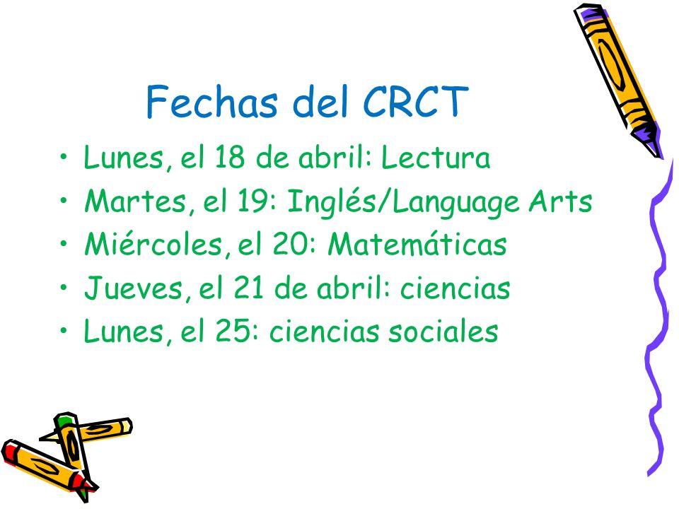 CRCT 7 mo – Requisito aprobar matemáticas, inglés, lectura y ciencias 8 vo. – Requisito aprobar lectura y matemáticas CRCT (Criterion-Referenced Compe