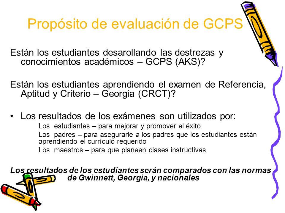 Propósito de evaluación de GCPS Están los estudiantes desarollando las destrezas y conocimientos académicos – GCPS (AKS).