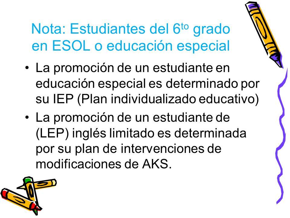 Nota: Estudiantes del 6 to grado en ESOL o educación especial La promoción de un estudiante en educación especial es determinado por su IEP (Plan individualizado educativo) La promoción de un estudiante de (LEP) inglés limitado es determinada por su plan de intervenciones de modificaciones de AKS.
