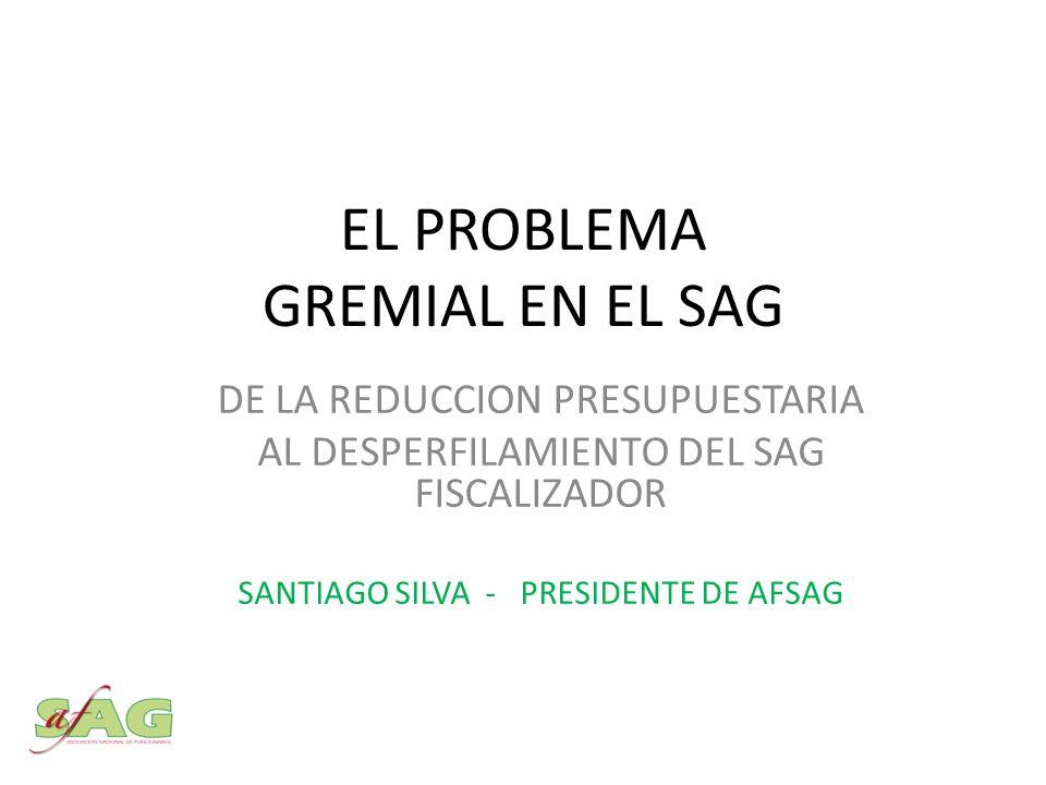 EL PROBLEMA GREMIAL EN EL SAG DE LA REDUCCION PRESUPUESTARIA AL DESPERFILAMIENTO DEL SAG FISCALIZADOR SANTIAGO SILVA - PRESIDENTE DE AFSAG