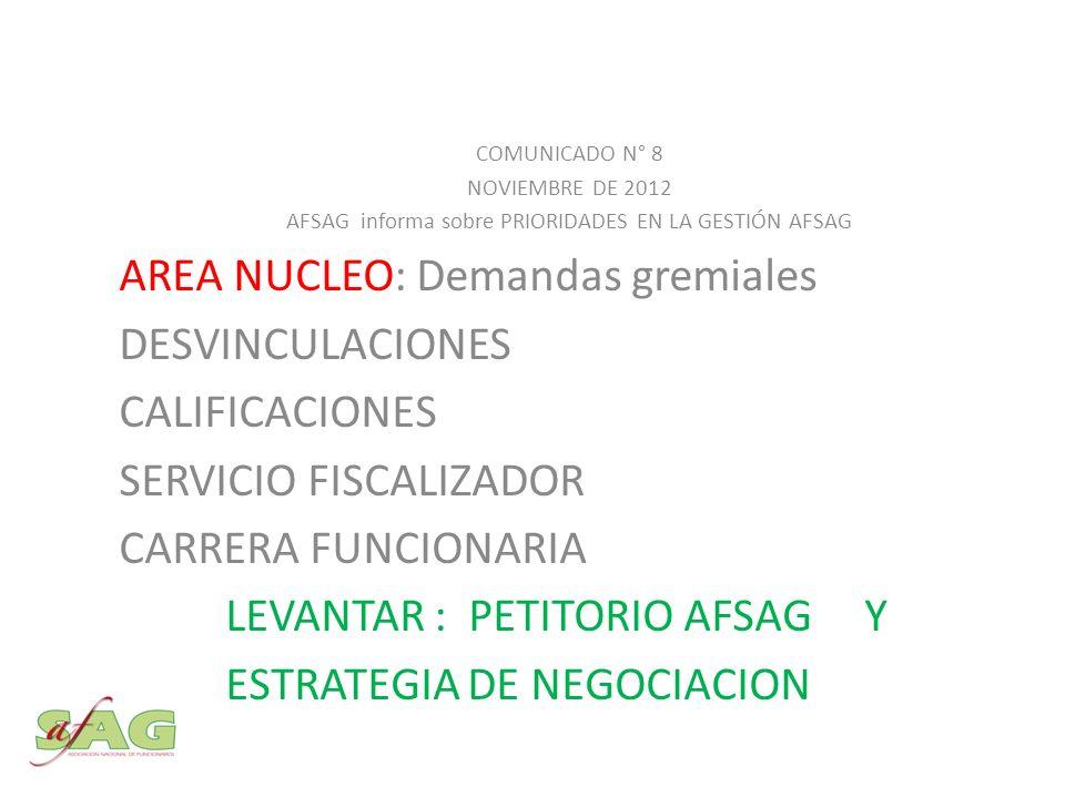 COMUNICADO N° 8 NOVIEMBRE DE 2012 AFSAG informa sobre PRIORIDADES EN LA GESTIÓN AFSAG AREA NUCLEO: Demandas gremiales DESVINCULACIONES CALIFICACIONES SERVICIO FISCALIZADOR CARRERA FUNCIONARIA LEVANTAR : PETITORIO AFSAG Y ESTRATEGIA DE NEGOCIACION