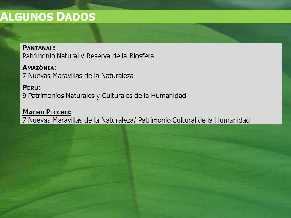 A LGUNOS D ADOS P ANTANAL : Patrimonio Natural y Reserva de la Biosfera A MAZÔNIA : 7 Nuevas Maravillas de la Naturaleza P ERU : 9 Patrimonios Naturales y Culturales de la Humanidad M ACHU P ICCHU : 7 Nuevas Maravillas de la Naturaleza/ Patrimonio Cultural de la Humanidad