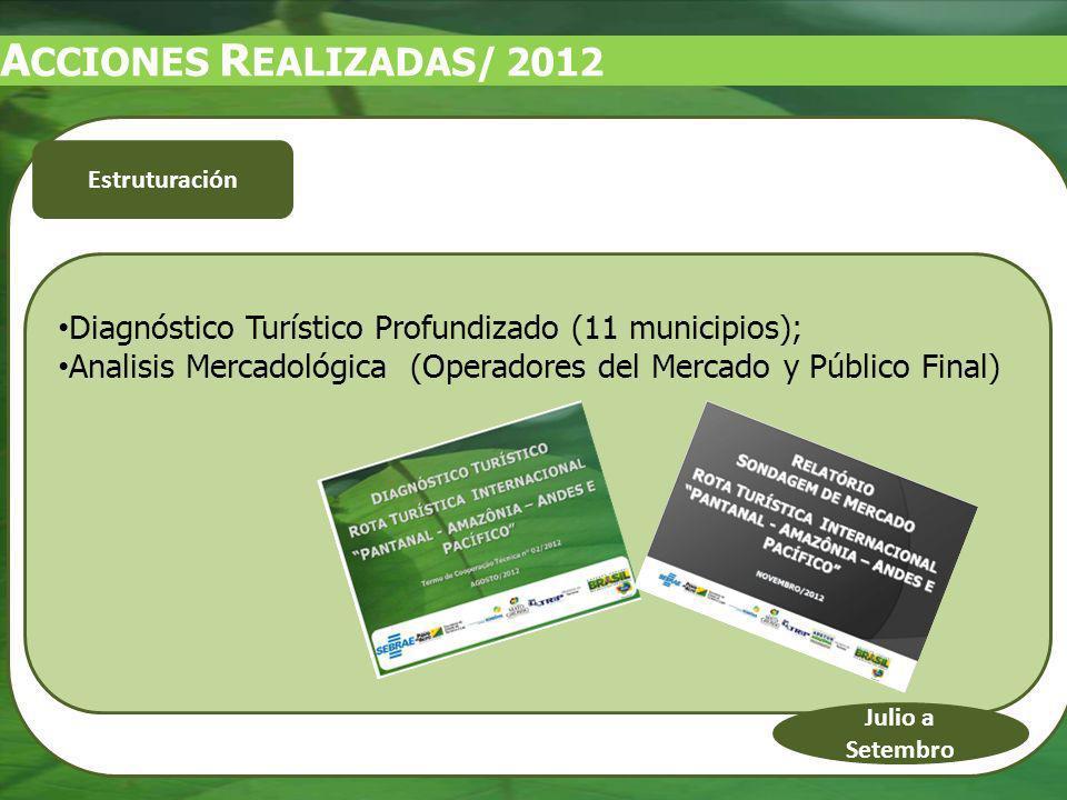 Diagnóstico Turístico Profundizado (11 municipios); Analisis Mercadológica (Operadores del Mercado y Público Final) Julio a Setembro Estruturación