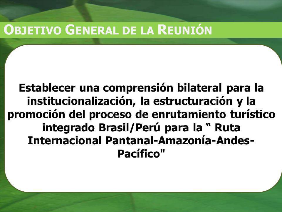 O BJETIVO G ENERAL DE LA R EUNIÓN Establecer una comprensión bilateral para la institucionalización, la estructuración y la promoción del proceso de enrutamiento turístico integrado Brasil/Perú para la Ruta Internacional Pantanal-Amazonía-Andes- Pacífico