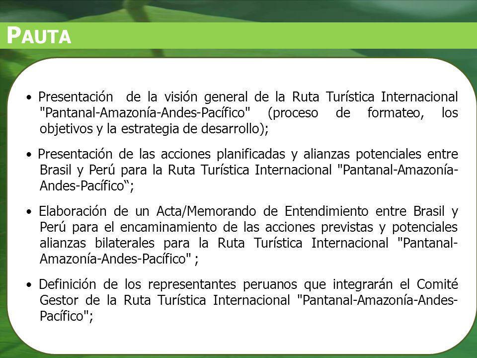 O BJETIVO G ENERAL DEL P ROYECTO Estructurar una ruta turística internacional, con foco mercadologico y con base en los principios de lacooperacíon, integracíon ysustentabilidade ambiental, econômica, sociocultural e político-institucional, contribyendo a la diversificación de la oferta turística brasileña y peruana por medio de la insercíon de un producto cualificado y diferenciado en los mercados nacional e internacional.
