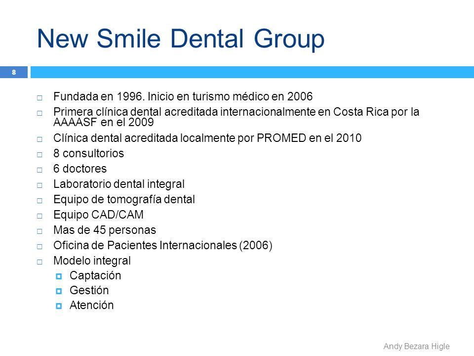 New Smile Dental Group Andy Bezara Higle Fundada en 1996. Inicio en turismo médico en 2006 Primera clínica dental acreditada internacionalmente en Cos