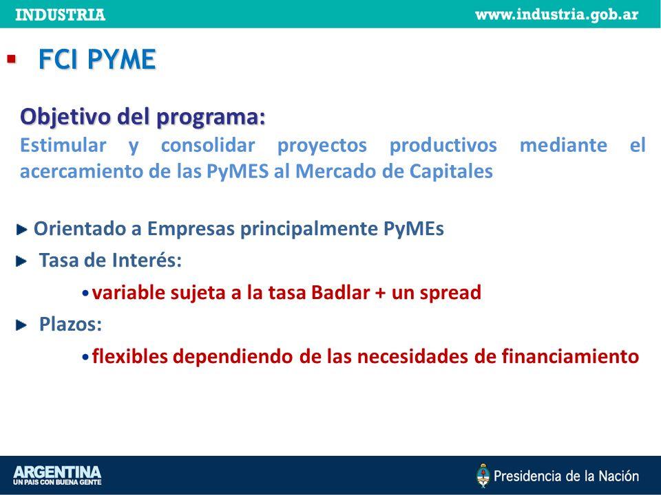 FCI PYME FCI PYME Orientado a Empresas principalmente PyMEs Tasa de Interés: variable sujeta a la tasa Badlar + un spread Plazos: flexibles dependiend