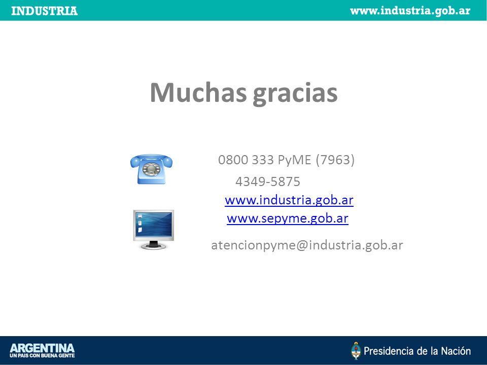 0800 333 PyME (7963) 4349-5875 www.industria.gob.ar www.sepyme.gob.ar atencionpyme@industria.gob.ar Muchas gracias