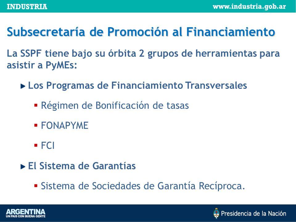 Subsecretaría de Promoción al Financiamiento La SSPF tiene bajo su órbita 2 grupos de herramientas para asistir a PyMEs: Los Programas de Financiamien