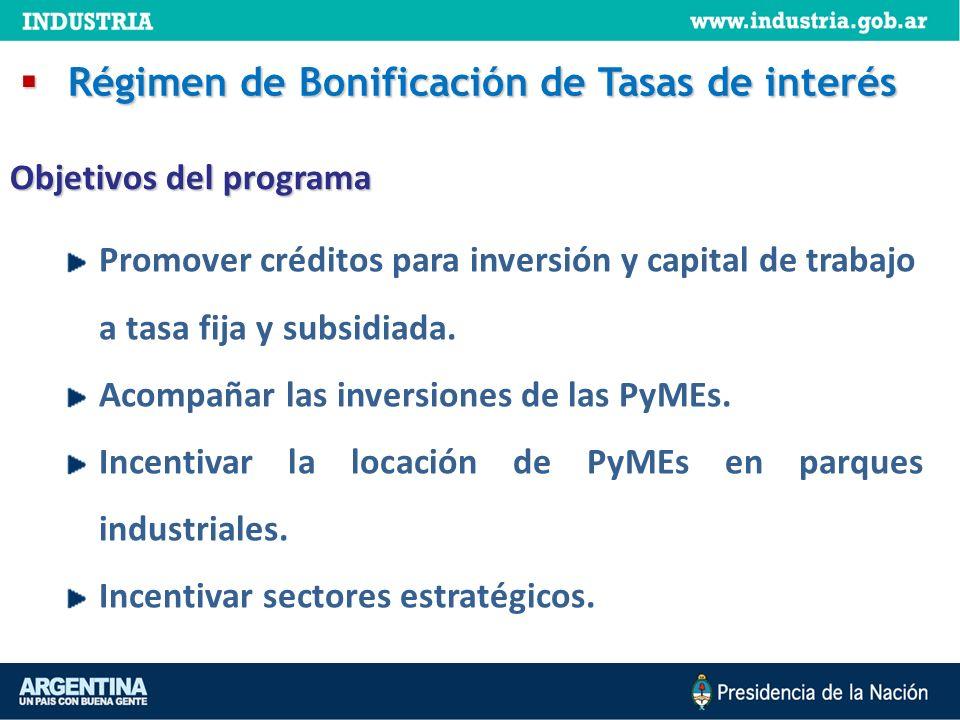 Promover créditos para inversión y capital de trabajo a tasa fija y subsidiada. Acompañar las inversiones de las PyMEs. Incentivar la locación de PyME