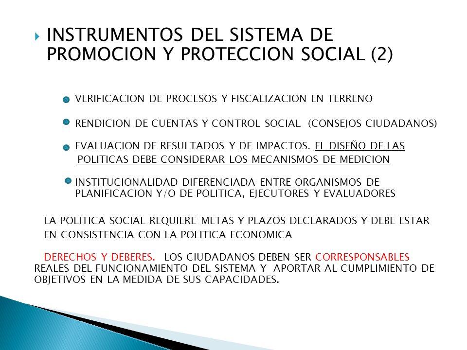 INSTRUMENTOS DEL SISTEMA DE PROMOCION Y PROTECCION SOCIAL (2) VERIFICACION DE PROCESOS Y FISCALIZACION EN TERRENO RENDICION DE CUENTAS Y CONTROL SOCIAL (CONSEJOS CIUDADANOS) EVALUACION DE RESULTADOS Y DE IMPACTOS.