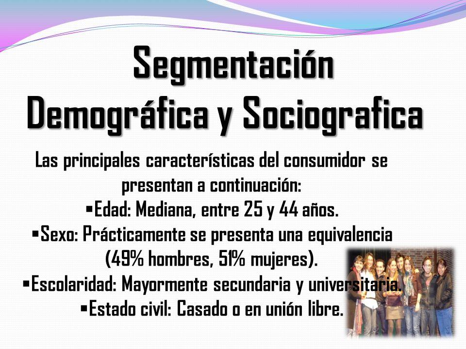 Segmentación Segmentación Demográfica y Sociografica Demográfica y Sociografica Las principales características del consumidor se presentan a continua