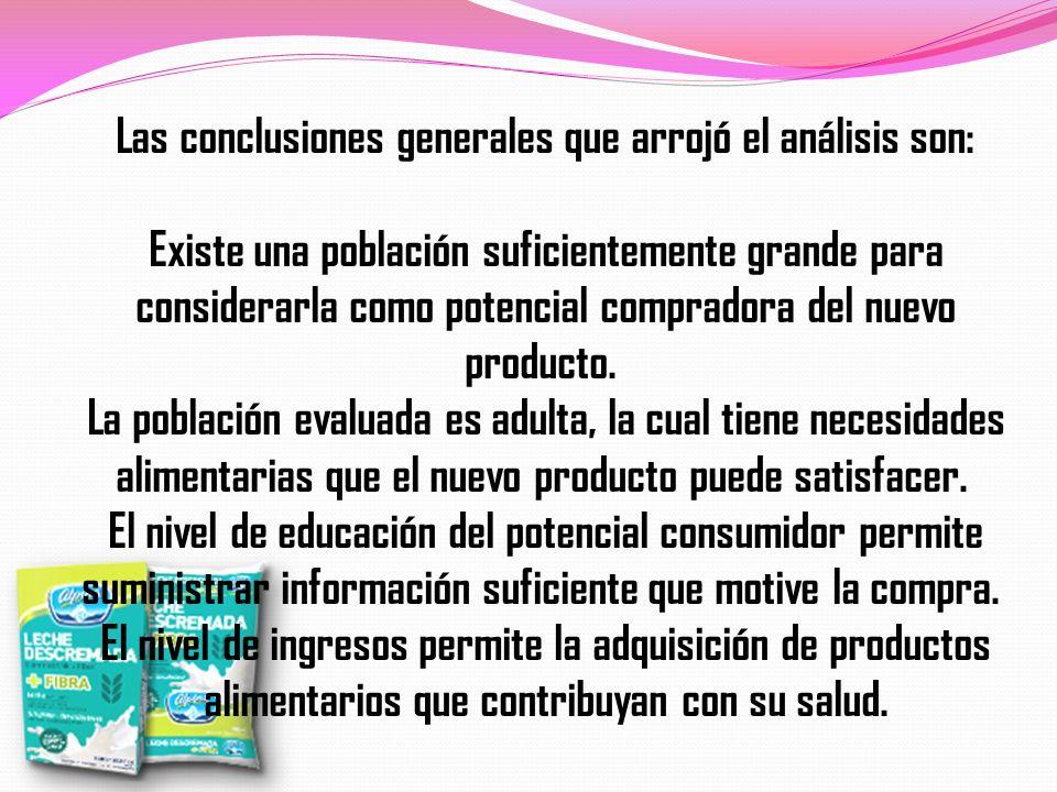 Las conclusiones generales que arrojó el análisis son: Existe una población suficientemente grande para considerarla como potencial compradora del nue