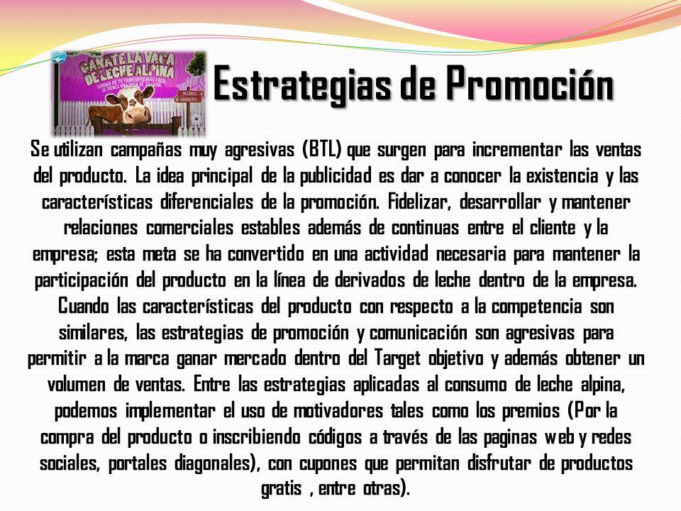 Estrategias de Promoción Estrategias de Promoción Se utilizan campañas muy agresivas (BTL) que surgen para incrementar las ventas del producto. La ide